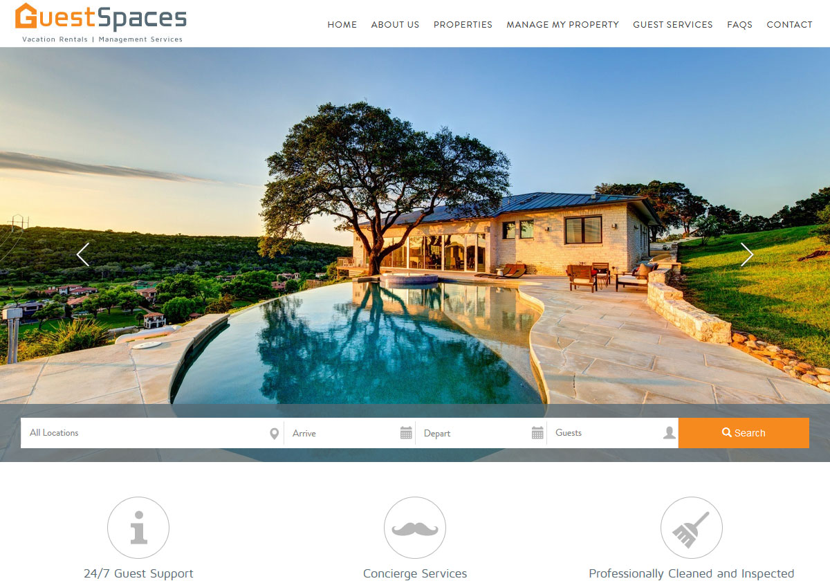 Vacation Rental Website Design - Guest Space