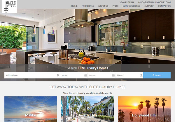 Let your guests know what they're in for right away. Custom website design makes it easy for guests to tour luxurious vacation rental properties in multiple destinations.