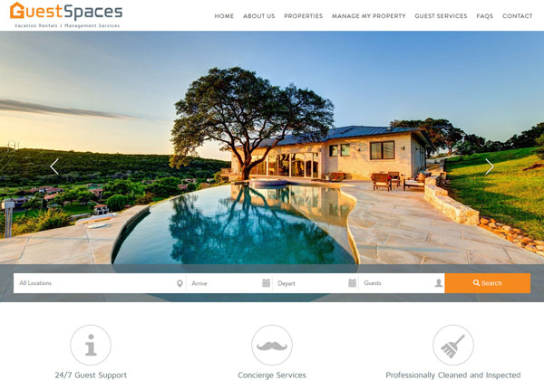 A full-service website design for property managers. This design brings big clear images and Austin TX creative flair to the forefront of their hospitality brand.
