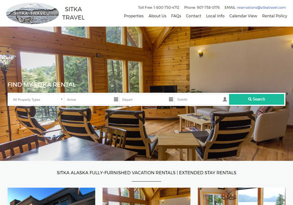 "Interactive and elegant, this enhanced theme brings in subtle flashes of color to engage guests. Especially recommended for vacation rentals on the coast or in warm places. Similar in many respects to ""Ithica"" theme, managers with small photos perform better with Elegante."